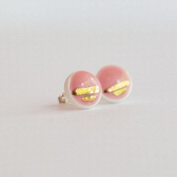 EARRINGS round porcelain ceramic earrings by delMundoDesignStudio