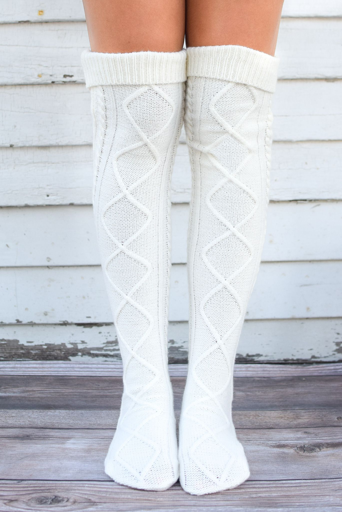 Cream diamond cable knit boot socks in i would wear that