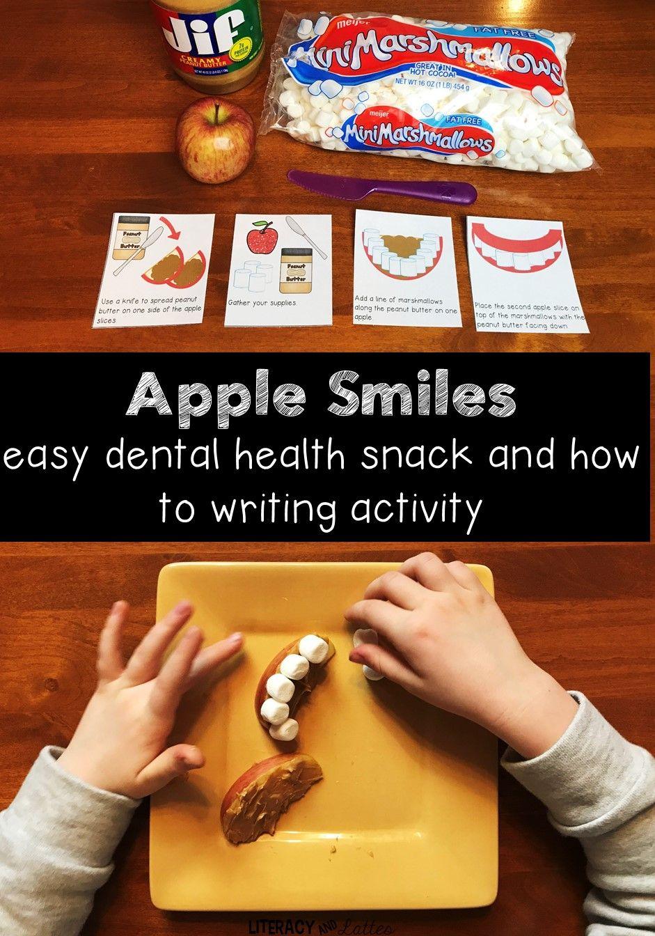 Easy Dental Health Snack: Apple lächelt! Kochen im Klassenzimmer und wie man schreibt …   – Classroom