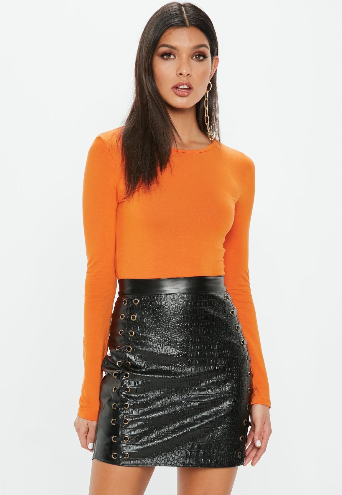 ec19e99c360 Missguided - Orange Crew Neck Long Sleeve Bodysuit Cami Crop Top, Long  Sleeve Bodysuit,