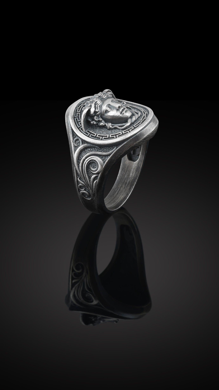 Medusa  Signet  Greek  Key  Ring   ! Sterling  Silver New  !! 925