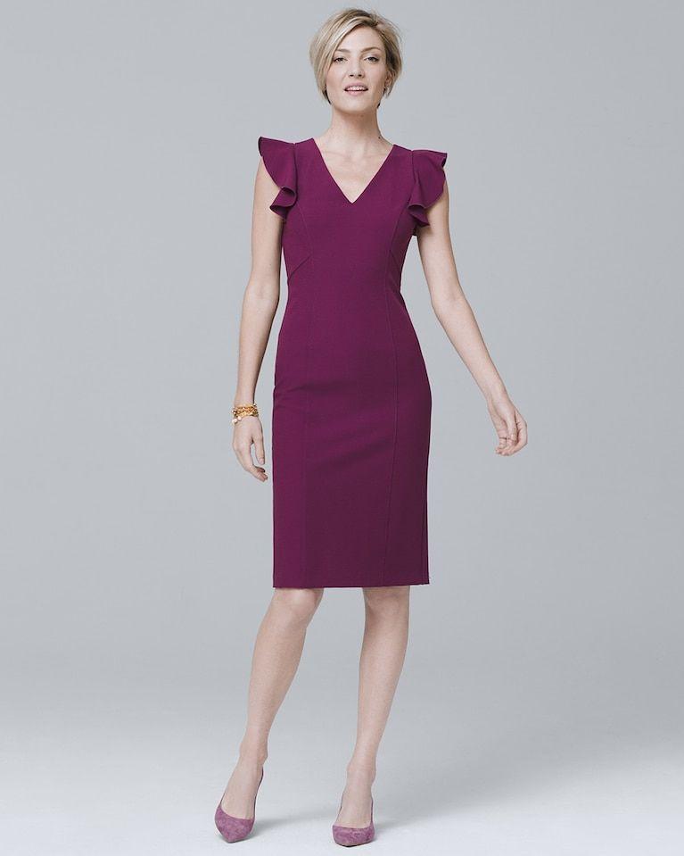 Women\'s Body Perfecting Ruffle-Shoulder Sheath Dress by White House ...