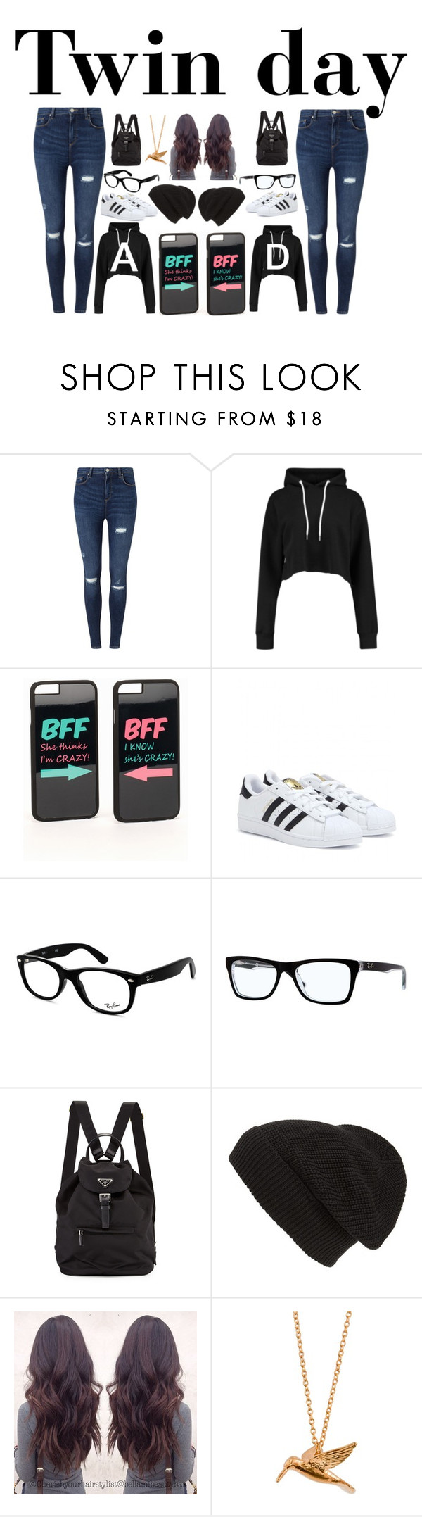 """Spirit week"" by unknownandloveit on Polyvore featuring Miss Selfridge, JFR, adidas, Ray-Ban, Prada, Phase 3 and Alex Monroe"