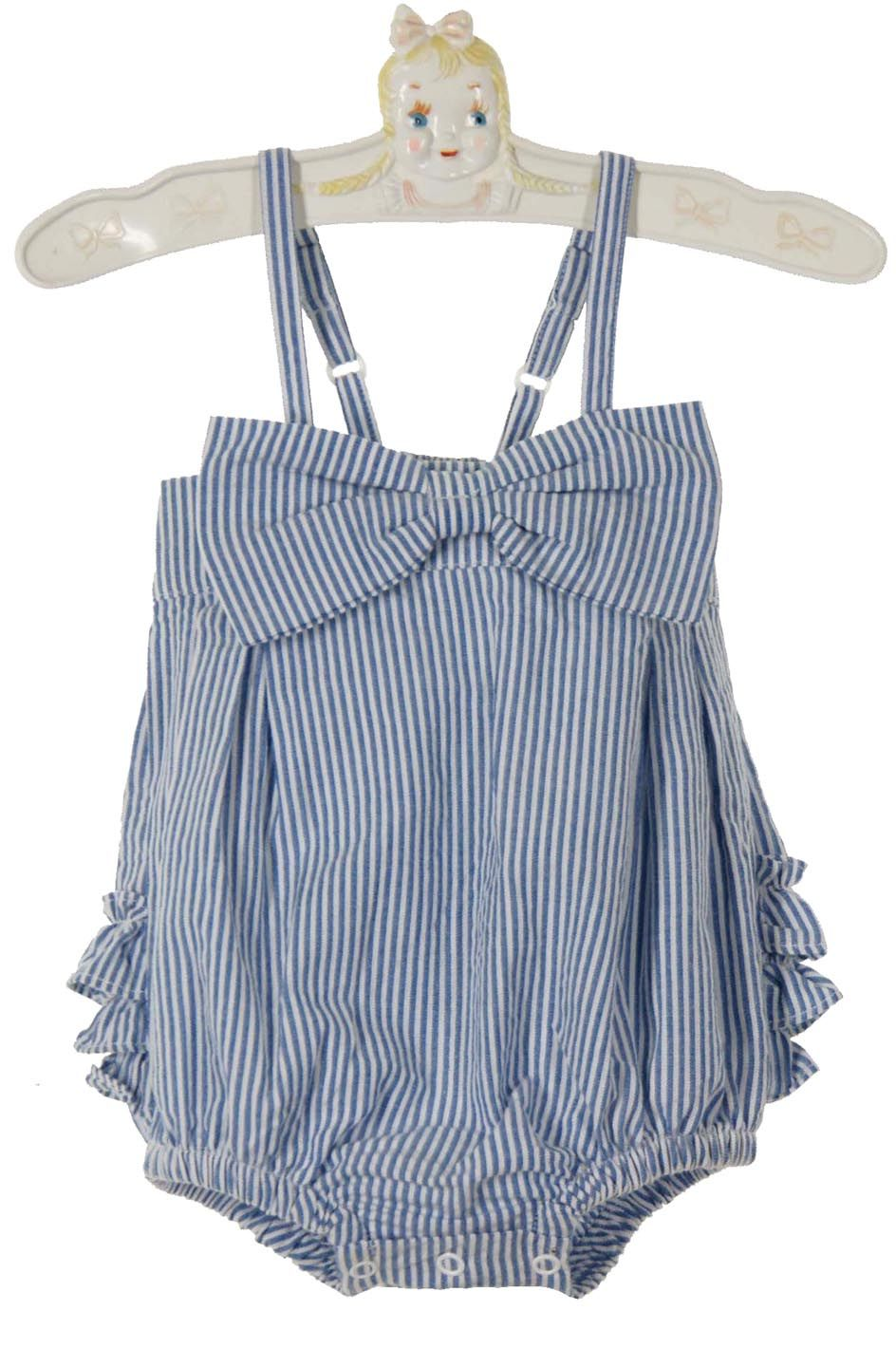 772a3e95787 NEW Ruffle Butts Vintage Style Blue Striped Sunsuit  30.00