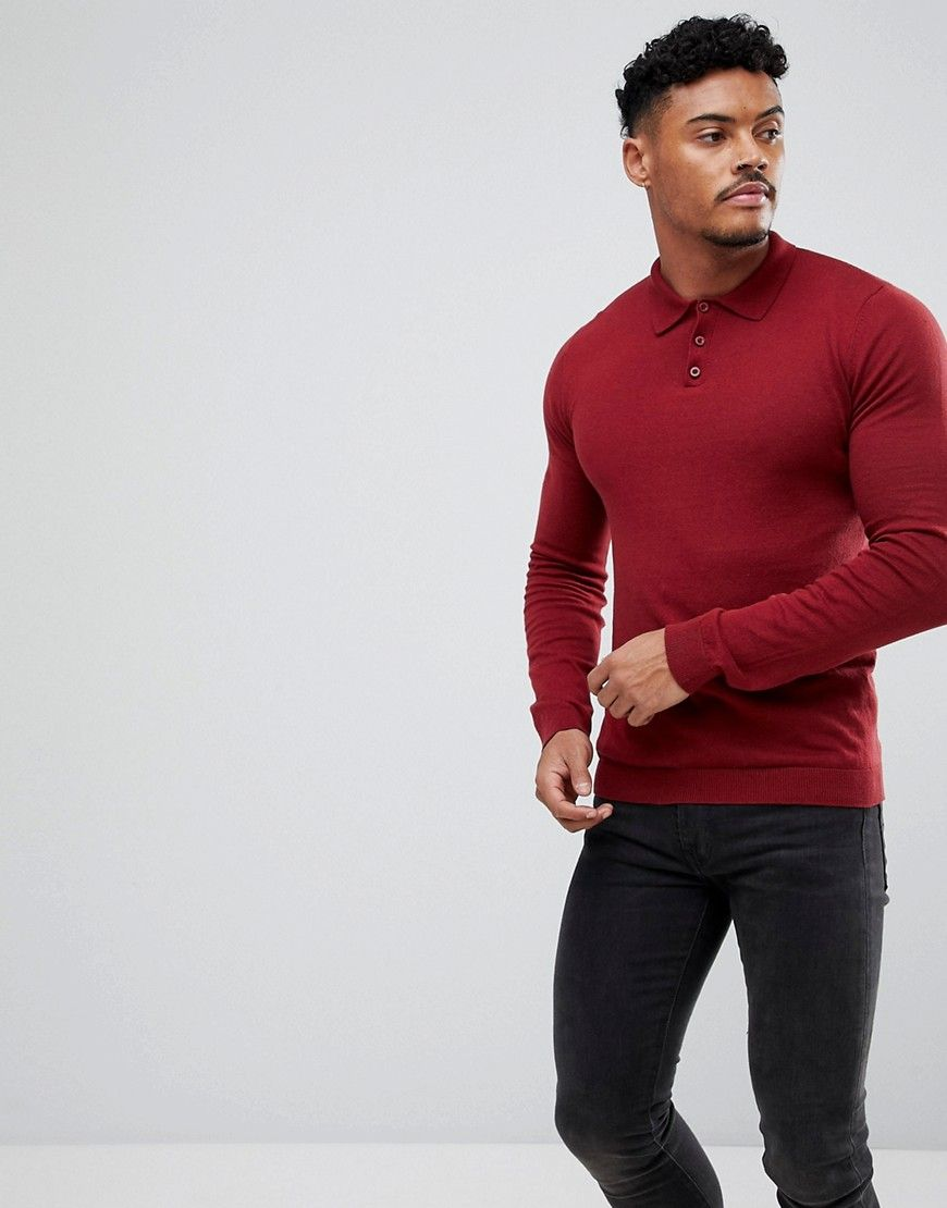 Asos knitted muscle fit polo in burgundy red t shirt