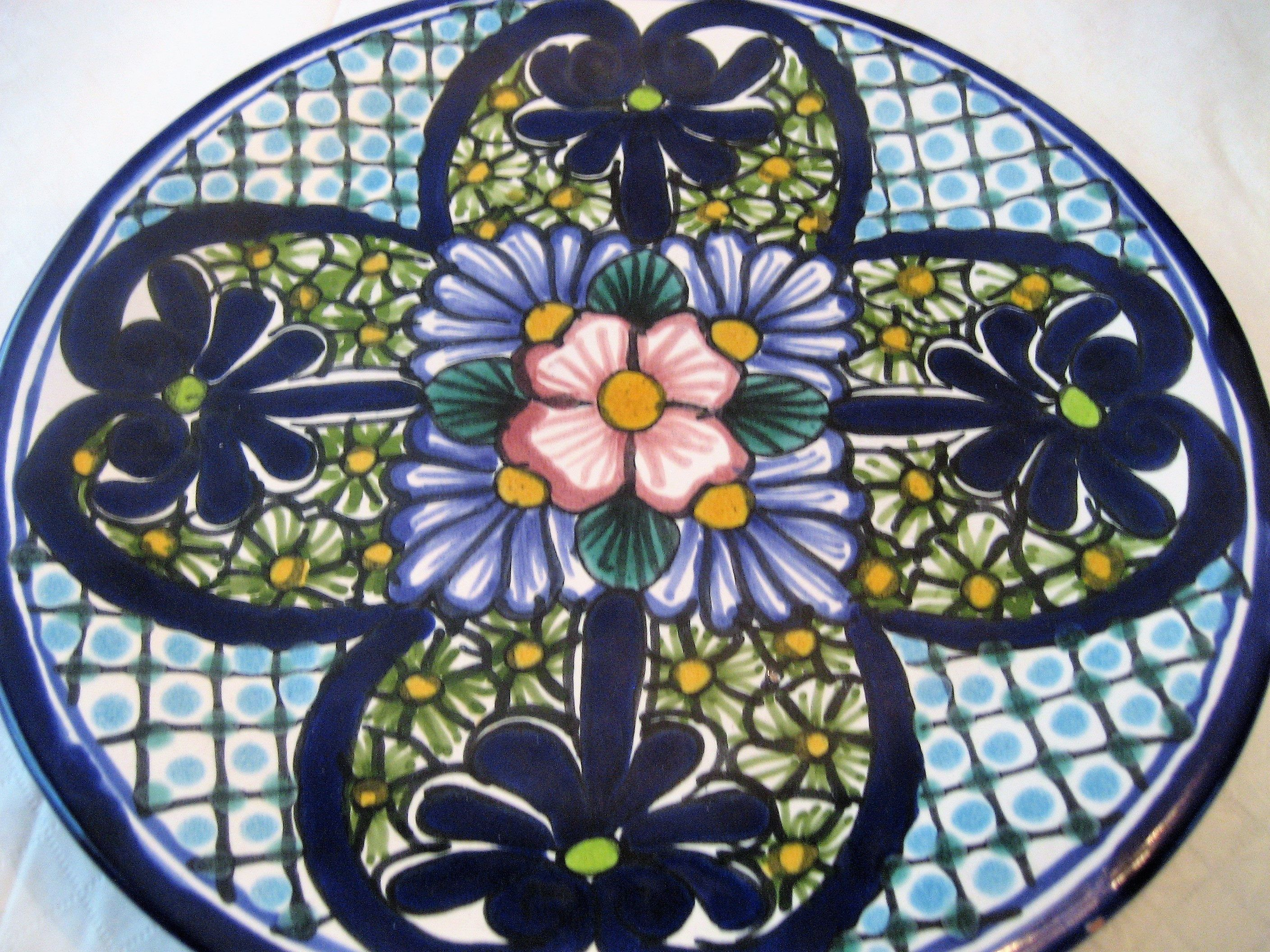 Mexican Talavera Pottery Plate Signed Fl Mora Hecho En Mexico Floral Design Wall Hanging Serving Plate & Mexican Talavera Pottery Plate Signed Fl Mora Hecho En Mexico Floral ...