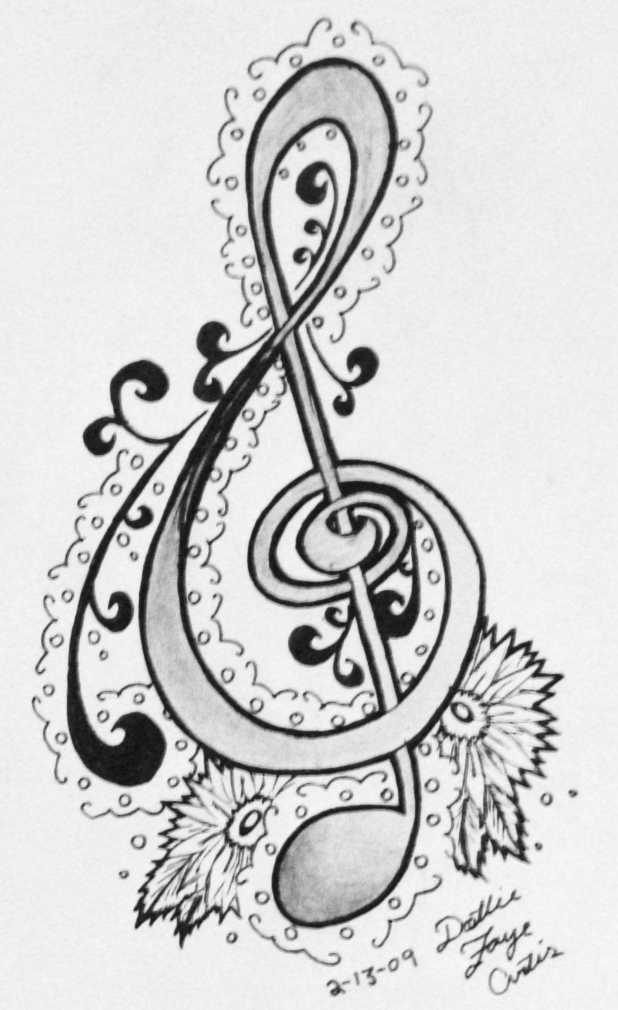 This is a graphic of Sizzling Treble Clef Coloring Page