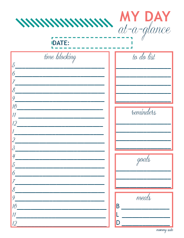 Plan Your Day Like A Boss Mommy Suite Daily Planner Printables Free Planner Pages Time Blocking Printable