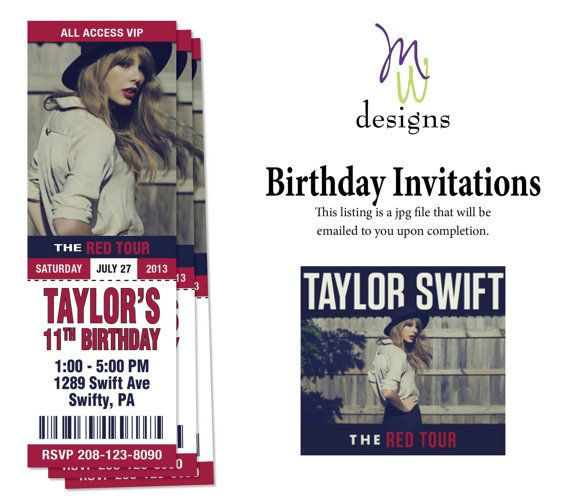 Taylor Swift - Printable Concert Ticket Birthday Invitation on - concert ticket birthday invitations