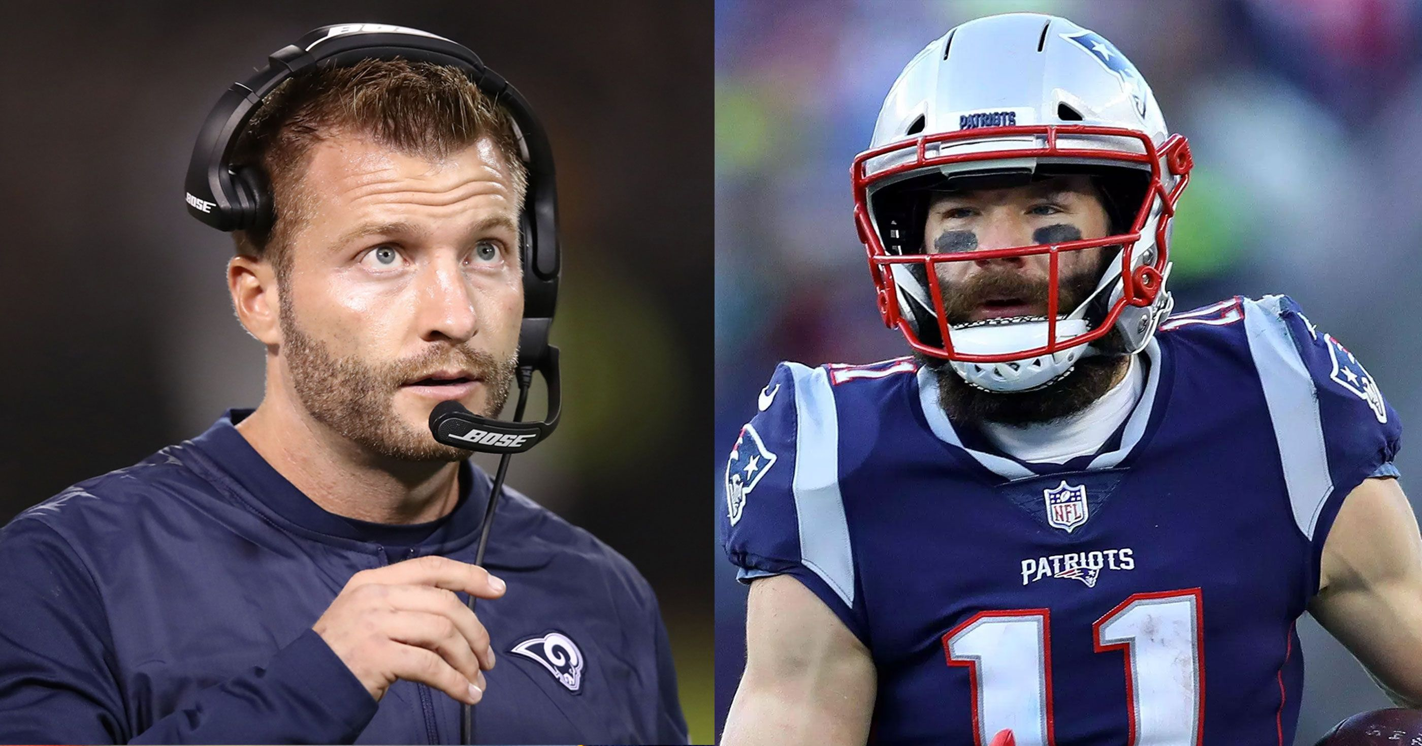 Rams Coach Sean Mcvay Is So Young He Played Football Against Julian Edelman In College Sean Mcvay Football Julian Edelman