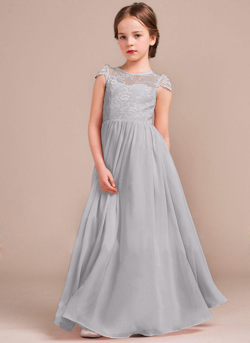 Beautiful poppy light silver grey lace and chiffon long