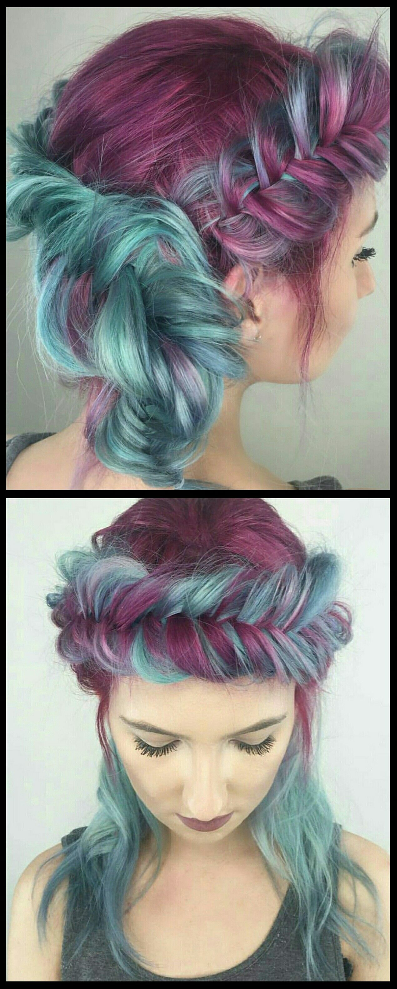 Purple blue fishtail braided dyed hair color @chitabesesu ...