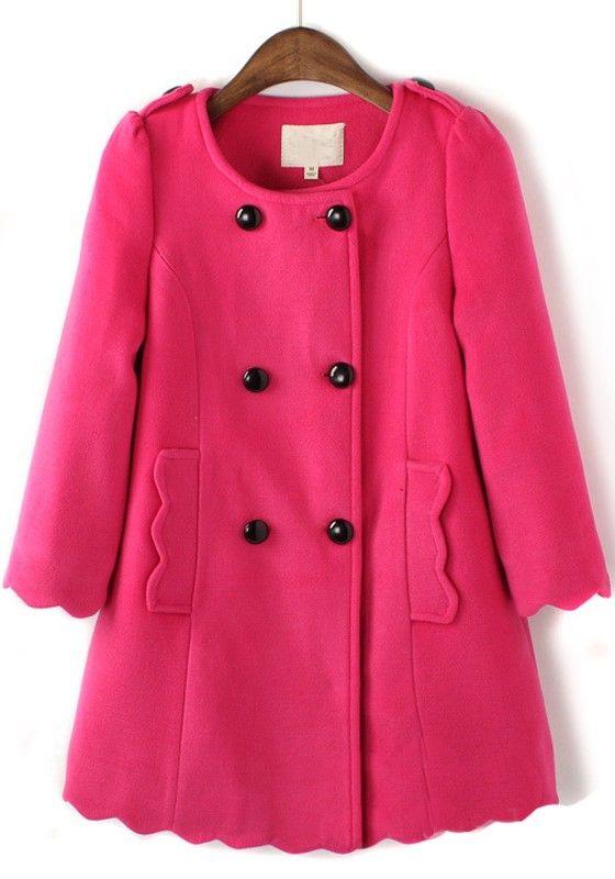 Rose-Carmine Plain Round Neck Long Sleeve Wool Coat
