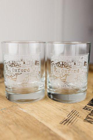 Oxford College Town Rocks Glass Set Whiskey Glasses Highball Glass Glass