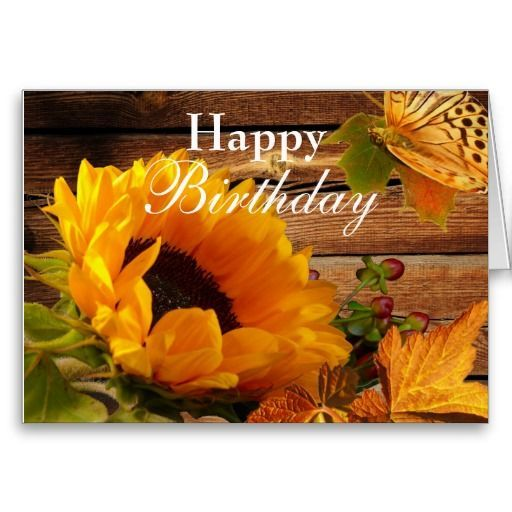 Happy Birthday Card Rustic Country Fall Sunflower