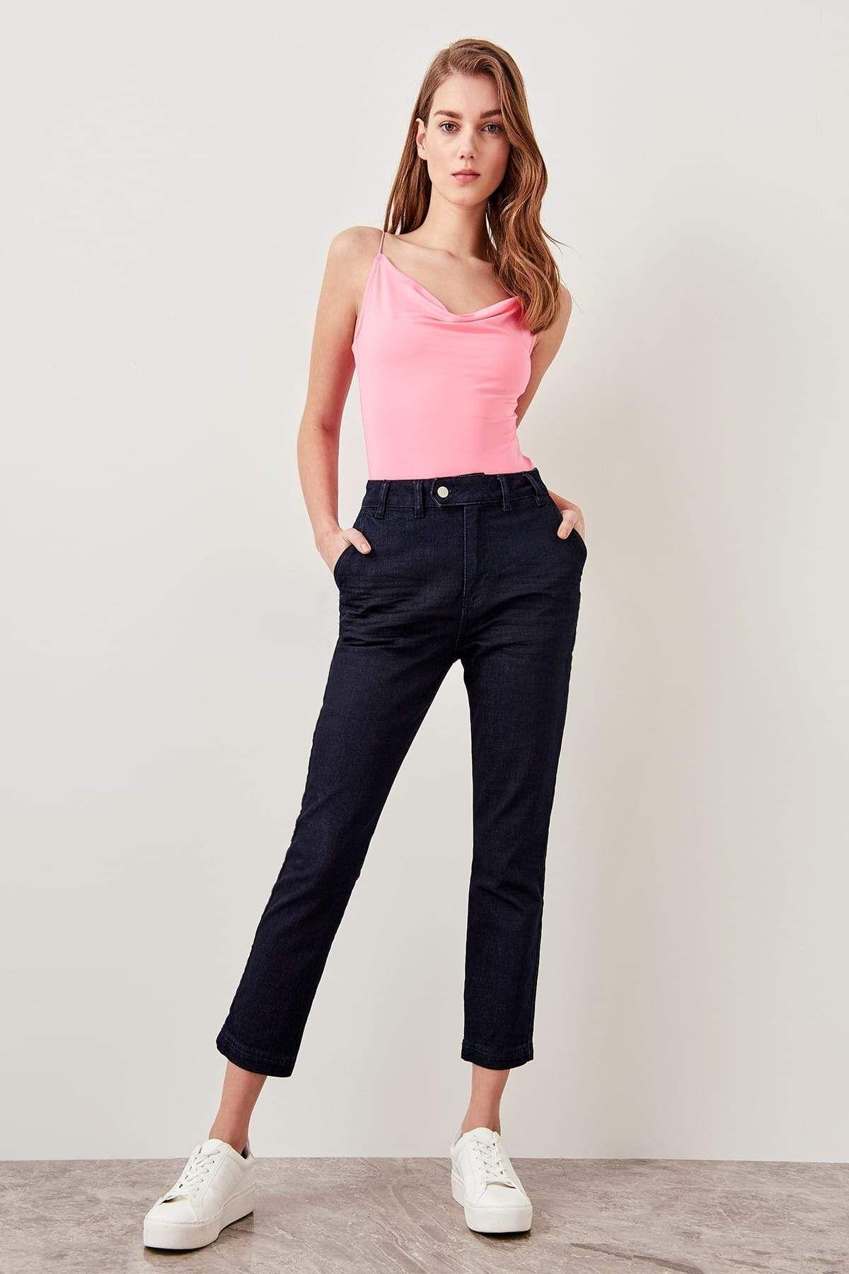 Dark blue high waist slim fit jean denimjeans denim