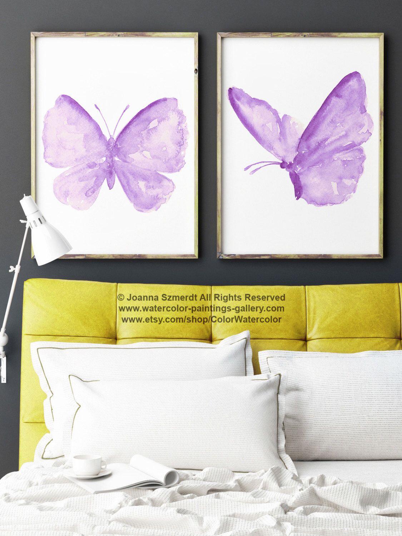 Purple Butterfly Nursery Wall Decor, Butterflies Kids Room Painting ...