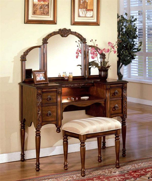 Acme Antique Oak 3 PC Floral Tri Fold Mirror Makeup Table Vanity Set