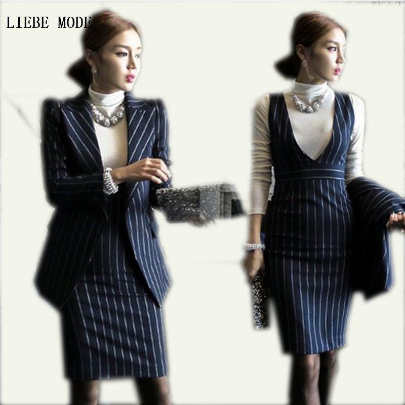Spring Autumn Blue White Striped Dress Suits 2 Pieces Women Formal