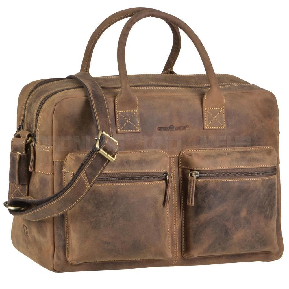 c602405a532e1 Greenburry Businesstasche VINTAGE Leder Officebag Aktentasche Briefcase  braun