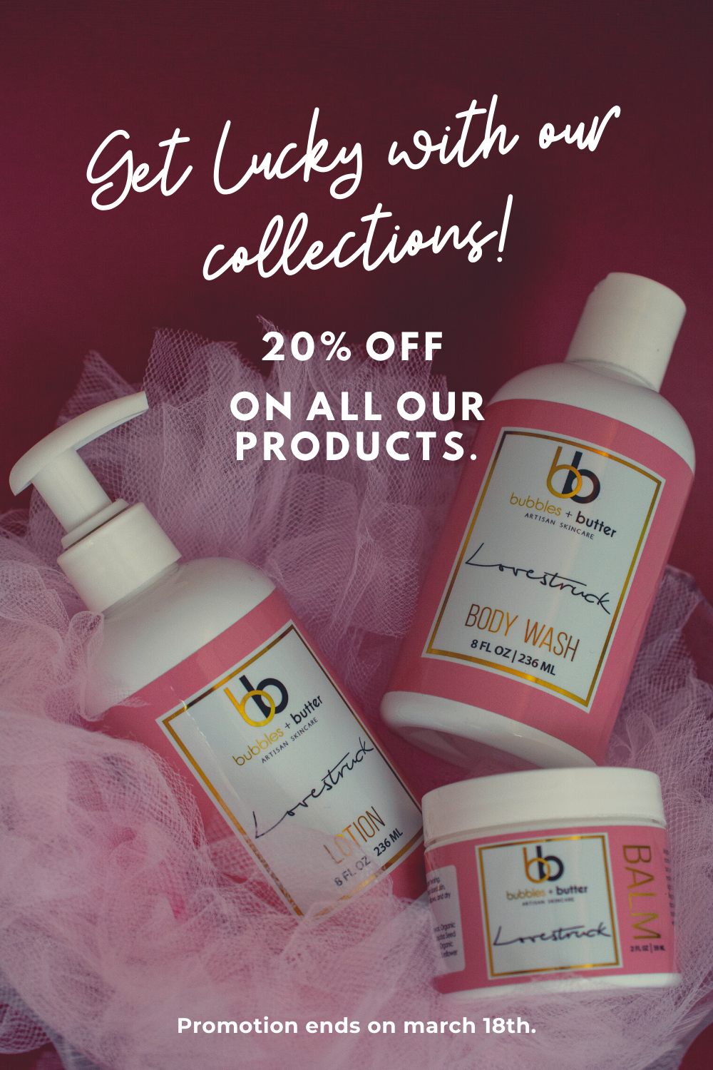 #greatdeals ✨ | The arrival of St. Patty's Day means we've made it through 11 weeks of the year already  If you're feeling the work lag or the mid-month slump, get that mojo back with 20% off Bubbles & Butter sitewide! [ends March 18th | Limited stock] Tap the picture and find out more about the products in offer.  Send us a message, happiness is one balms away!