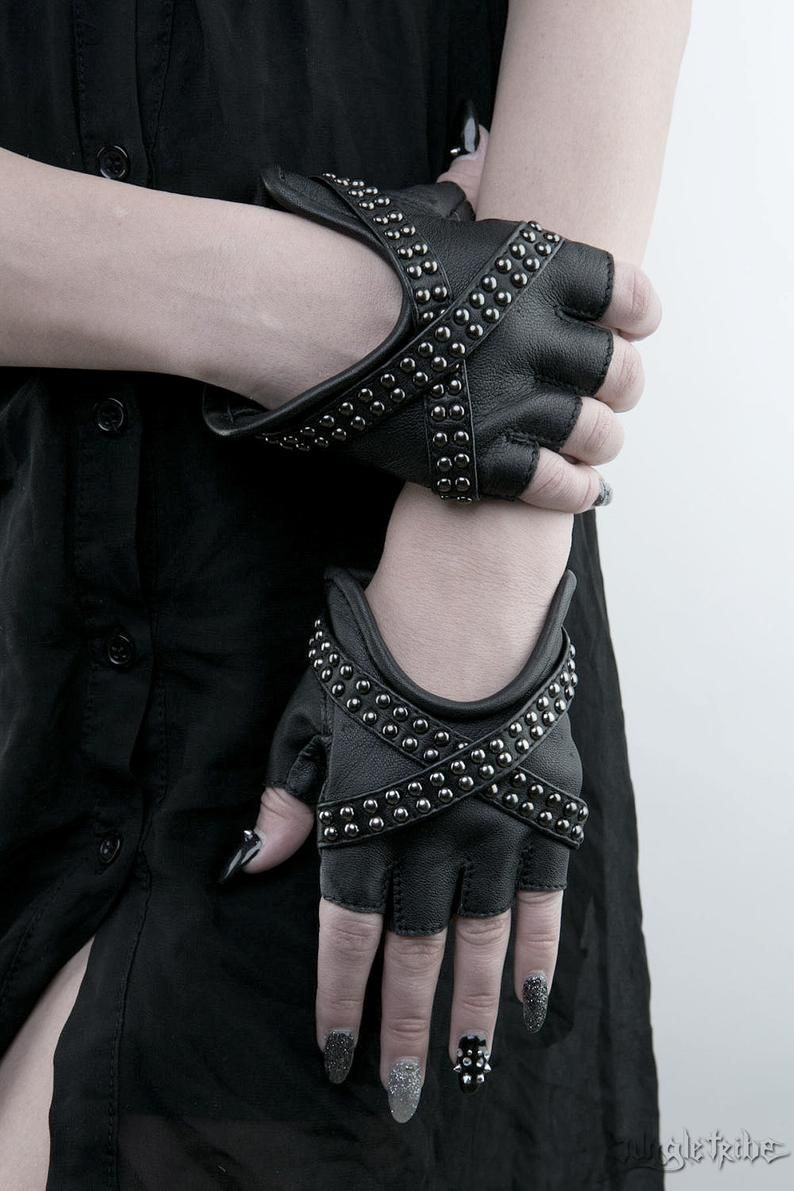Photo of X GLAM Studded Black Leather Fingerless Gloves
