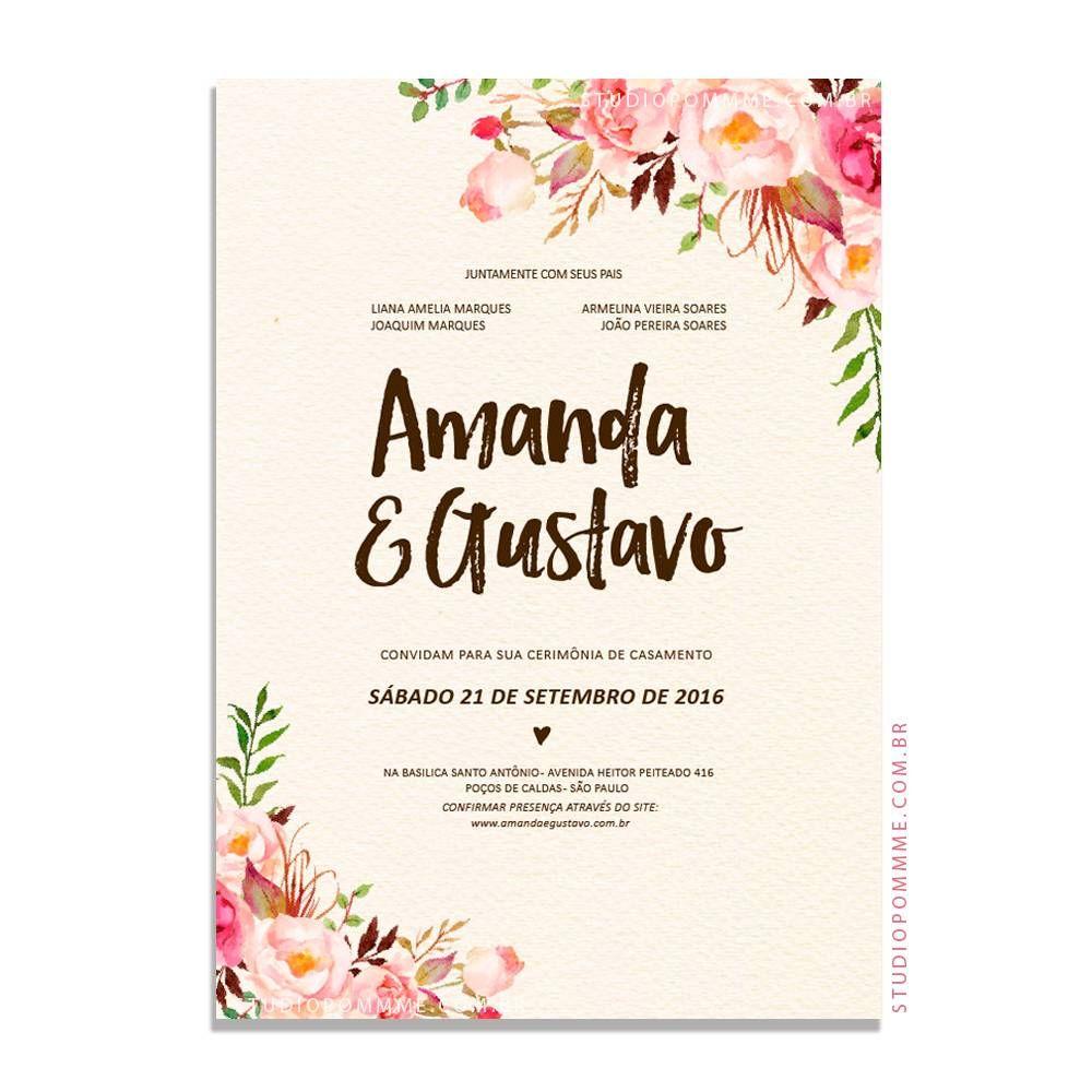 Arte Para Convite De Casamento Rustico Para Imprimir Convite De