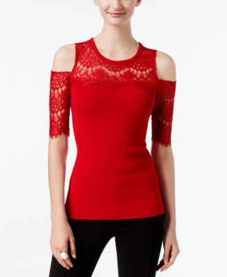 6d7cabf7485 INC International Concepts Lace Cold-Shoulder Sweater, Only at Macy's