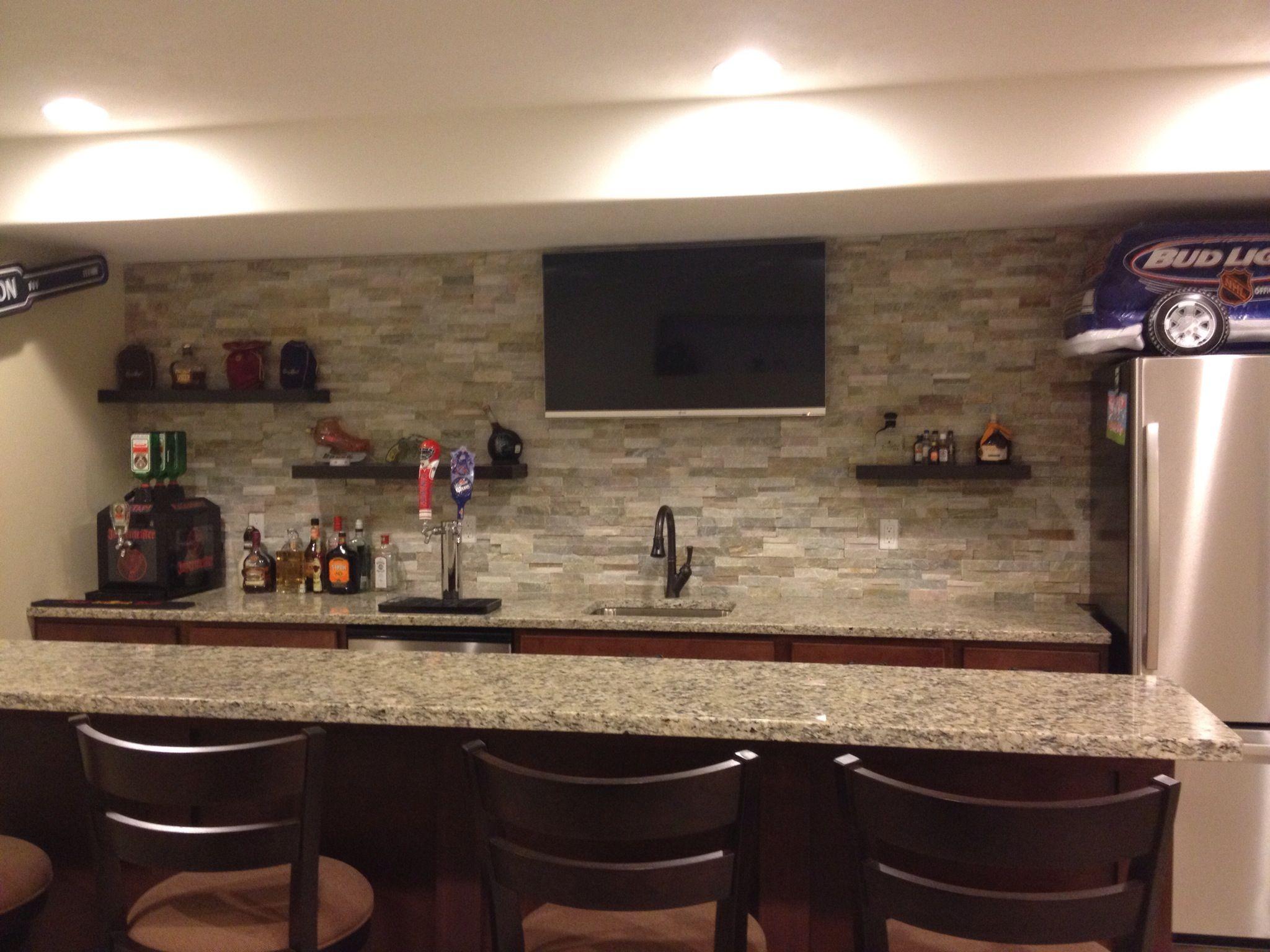 Sleek looking basement mancave bar basement bar for Man cave kitchen ideas
