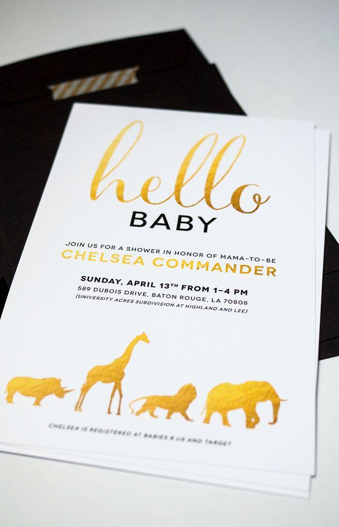 Gold and White Safari Animal Baby Shower Invitation | Safari animals ...