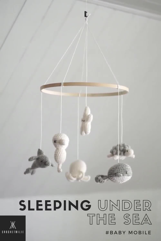 "Photo of Baby mobile "" Sleeping under the sea "" – neutral – ocean theme nursery – crochet – baby shower gift"