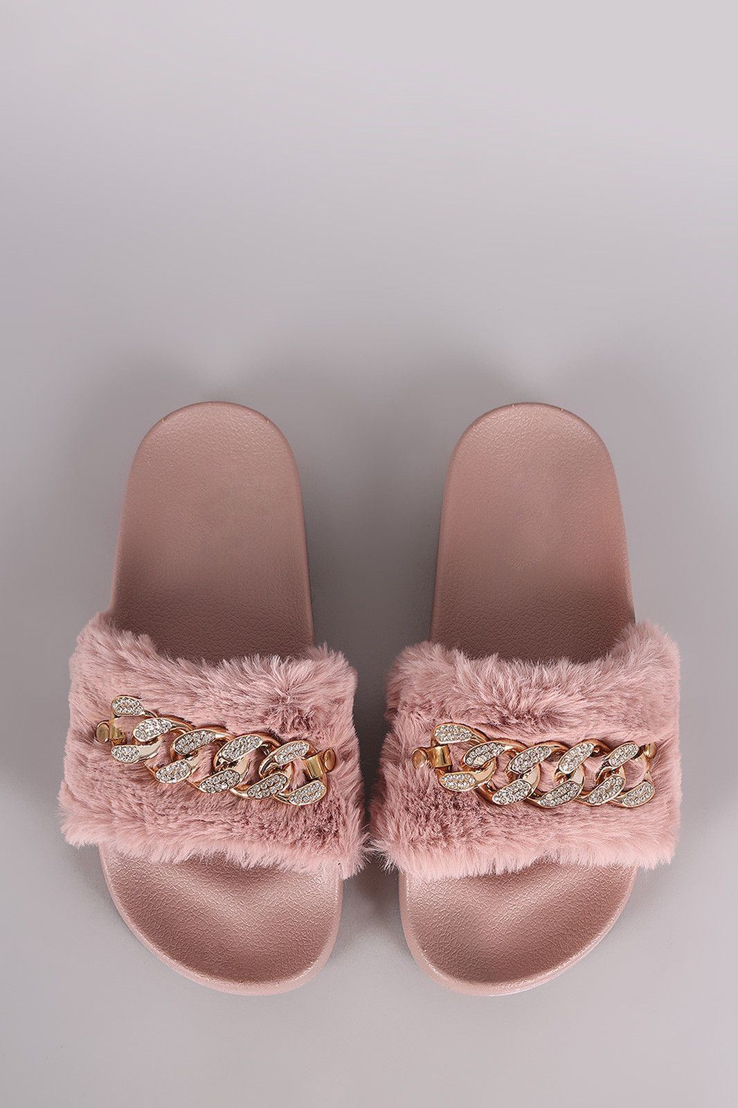 3f2debf3b Bamboo Rhinestone Chain Faux Fur Slide Sandal
