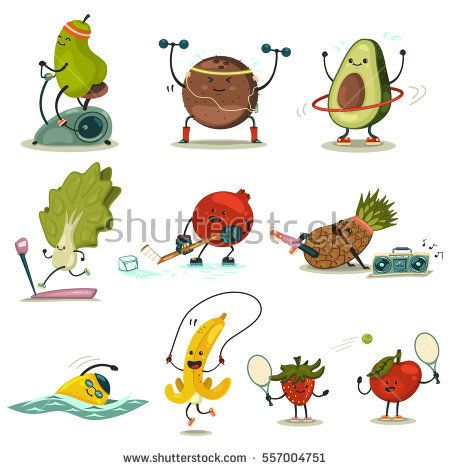Funny Fruits And Vegetables Take Exercise Eating Healthy And Fitness Cute Food Cartoon Character Vector Set Funny Fruit Food Cartoon Fruit Cartoon
