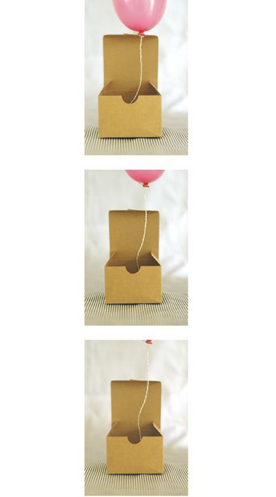 balloon in a box invitations! so adorable :) I will have to do this once