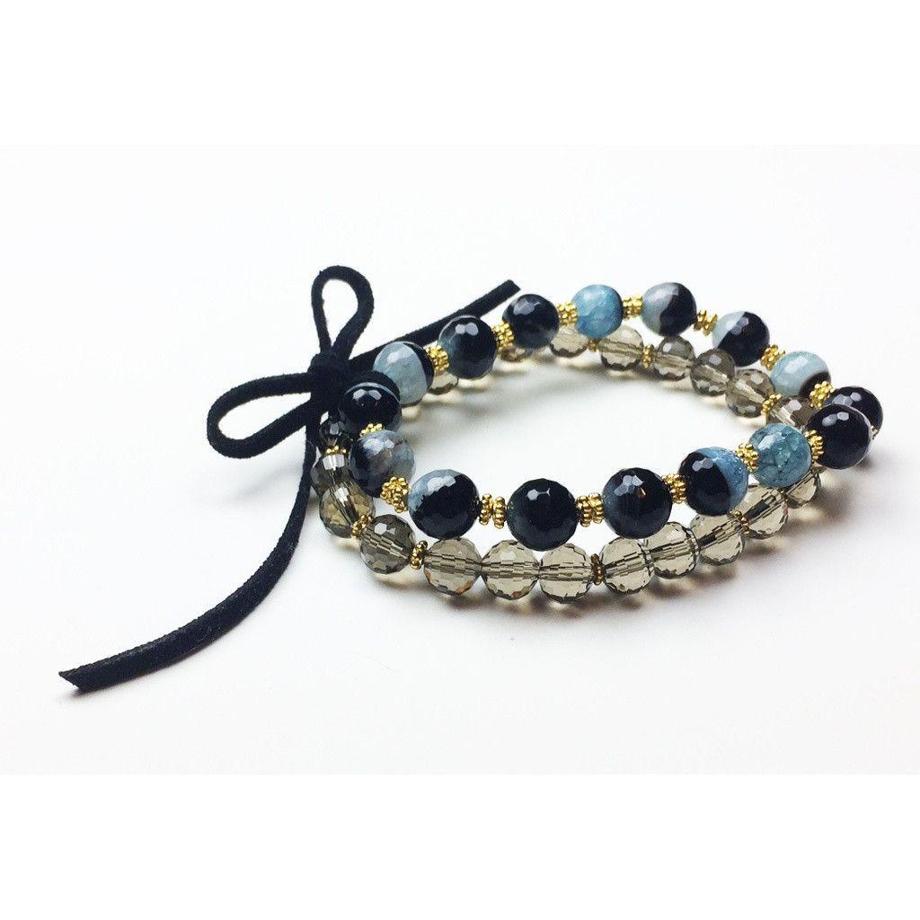 Striped Agate And Smoky Quartz Stretch Bracelet Set