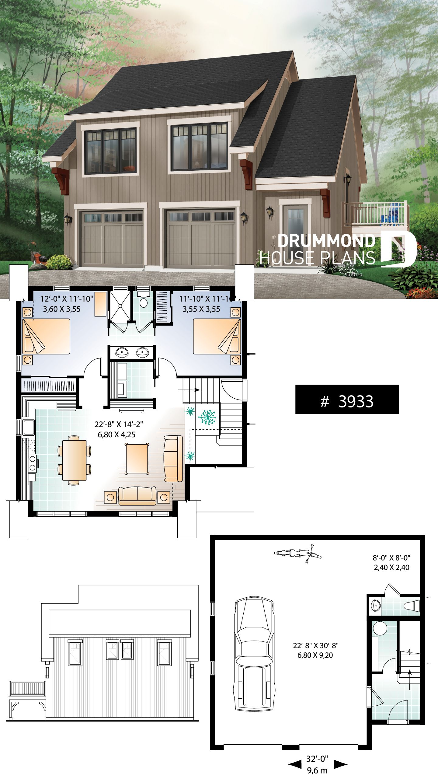 Discover The Plan 3933 Morgan S Walk Which Will Please You For Its 2 Bedrooms And For Its Cottage Chalet Cabin Styles Carriage House Plans Garage Apartment Floor Plans Garage House Plans