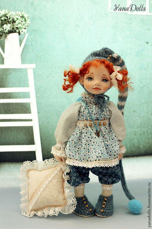 Гномочка Настёна - тёмно-бирюзовый,кукла,гномочка,смешанная техника,полимерная глина