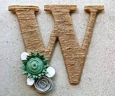 Twine Monogram Wreath with handcrafted flowers and a ribbon to hang by Wreaths247 on Etsy