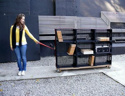 Mobile Bookshelf This Portable On Wheels Is Constructed From Used Fruit Boxes