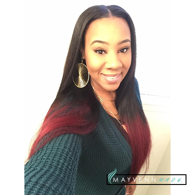Fly Mayvenn hair with red ombre and a classic middle part