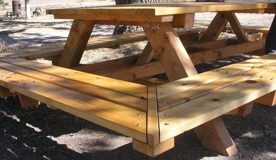 Custom Made Large ThruBolt Picnic Tables By MidCenturyWoodShop