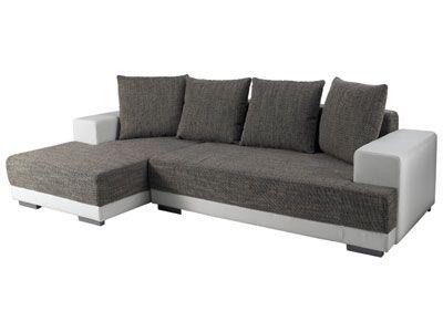 Canapé convertible d\u0027angle gauche - TOAST coloris blanc/gris - code