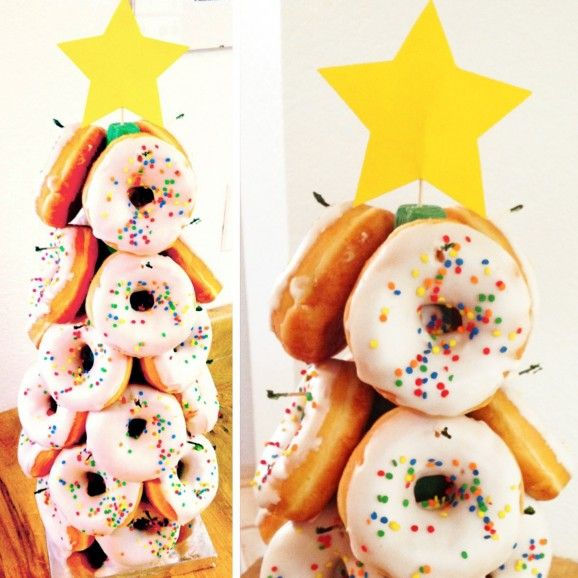 O Donut Tree With Images Christmas Donuts Donut Christmas Tree School Christmas Party