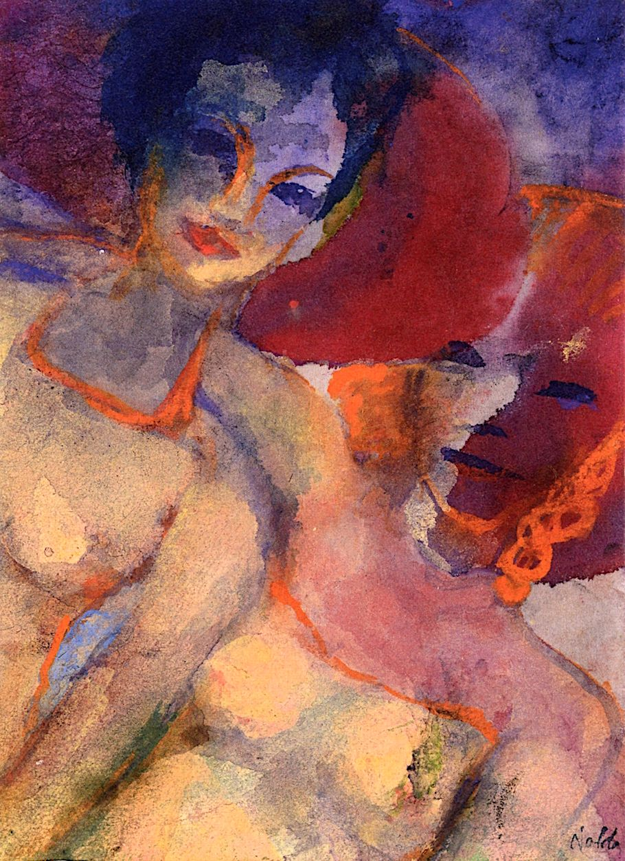 """dappledwithshadow: """" Summer Guests Emil Nolde 1938-1945 Private collection Painting - watercolor Height: 19 cm (7.48 in.), Width: 13.5 cm (5.31 in.) """""""