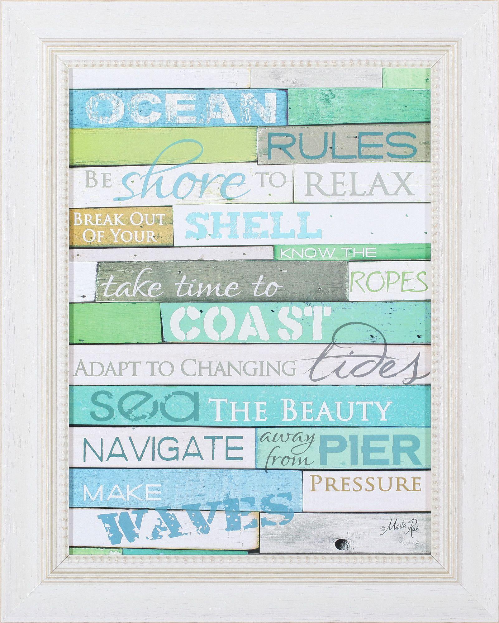Ocean Rules by Marla Rae Framed Textual Art