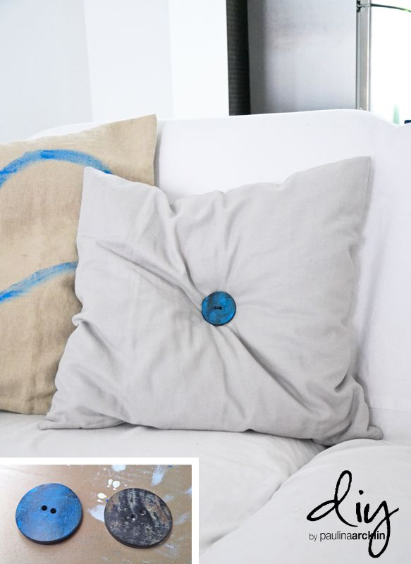 add a beautiful button to a plain decorative pillow! LOVE IT DIY! Pinterest Diy buttons ...