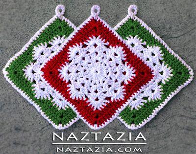 Free Pattern Crochet Snowflake Hotpad Potholder Dishcloth