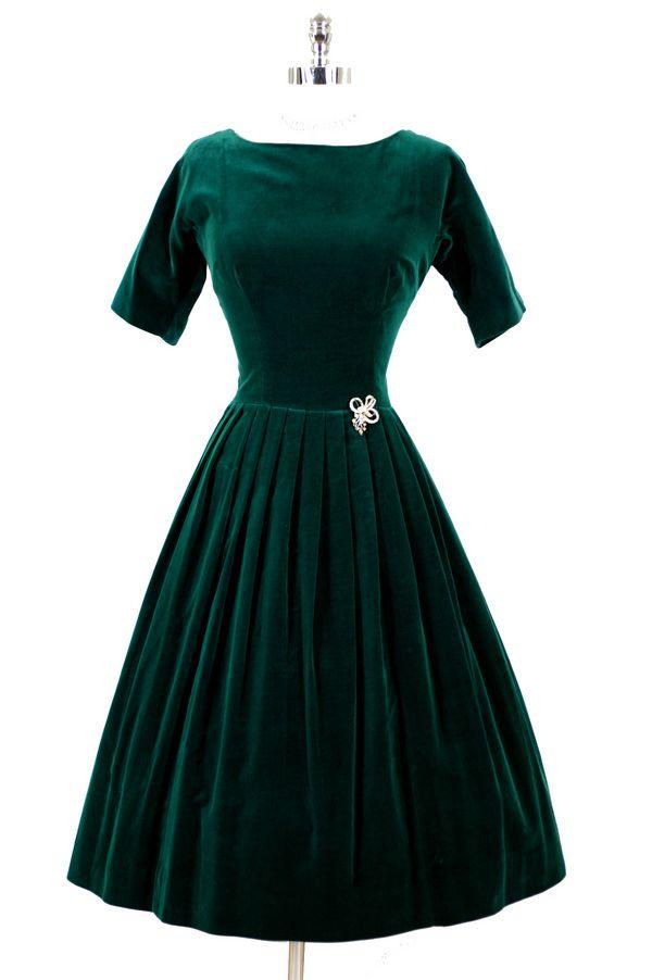 1950s velvet dress