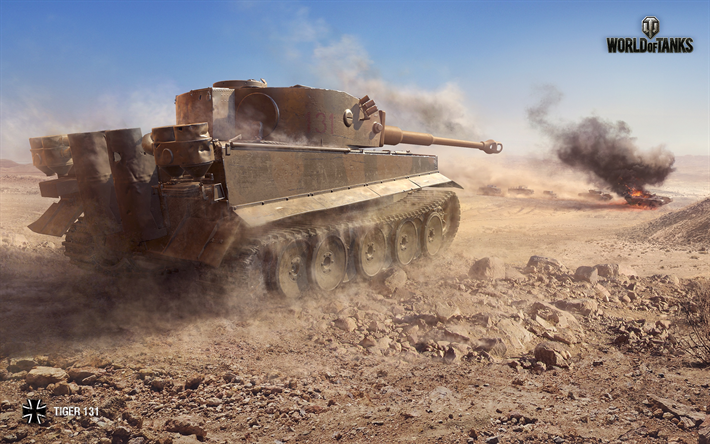 Download wallpapers World of Tanks, Tiger 131, WoT, Africa