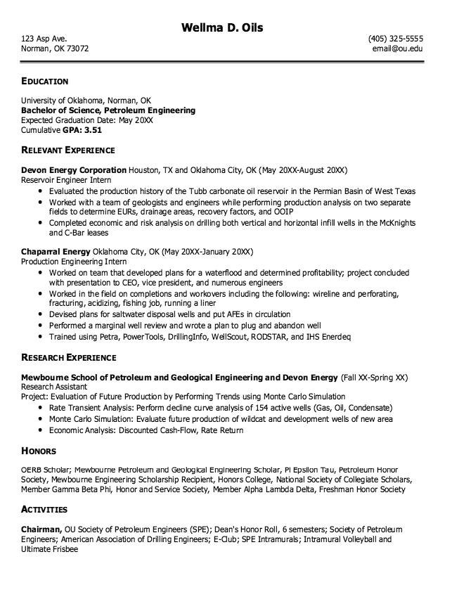 Example Of Petroleum Engineering Resume Examples Resume Cv Engineering Resume Petroleum Engineering Resume